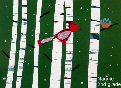 Maggie winter bird scene