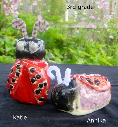 katie and Annika clay lady bugs